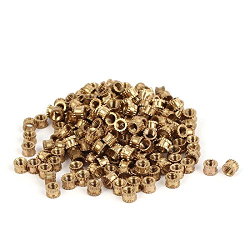 sourcingmapr-m3-x-3mm-brass-cylindrical-knurled-threaded-round-insert-embedded-nuts-200pcs