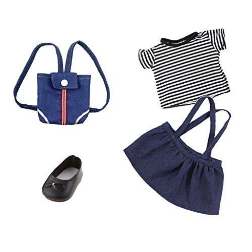Sharplace 4 Stück Süße Puppenkleidung Outfit für 18''Mädchen Puppe - Hosenträger Rock + Gestreiftes T-Shirt + Denim Rucksack + Puppenschuhe
