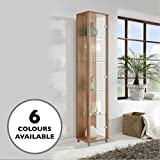 Oak Single Door Glass Display Cabinet with 4 Moveable Glass Shelves & Spotlight Best Review Guide