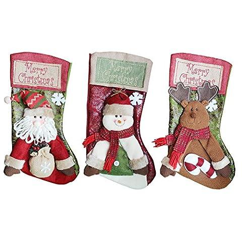 Frohe Weihnachten Strümpfe Set Persönliche Ausstattung Ornament Kamin groß Größe (Santa Schneemann und Rentier, 3Pack, 45,7cm) rot / grün