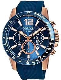 Lorus Mens Blue Silicone Strap Rose Gold RT392EX9