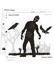 50 dianas de papel para tiro con pistolas de aire, temática zombie de 14 x 14 cm