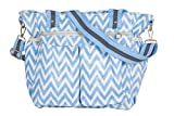 Kupu (Blue Zig Zag) Nappy Changing Bag, Stylish Laminated Water Resistance Multi-Function Shoulder Diaper Bag Portable,Stroller & Pockets Amazon