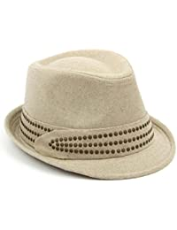 Hawkins Ladies trilby hat beige melton wool studded band womens quality 4fe2203d499e