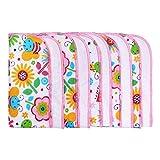 LULANDO Baby-Waschlappen und Waschtücher 25x25cm (10er Set). Waschbares Babytuch aus Baumwolle für Jungen und Mädchen, Farbe: Bunte Bienen/Pink
