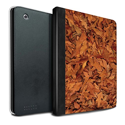 Stuff4® PU-Leder Hülle/Case/Brieftasche für Apple iPad 2/3/4 Tablet/Eiche/Braun Muster/Herbstblätter Kollektion - Pilz Braun Leder