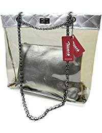 Zicac Bolsa de Moda Retro Estilo con Correa de Asa de la Cadena de Bloqueo, Transparente Bolsa de Mano Impermeable de PVC de Playa de Hombro con Bolsa Insertada