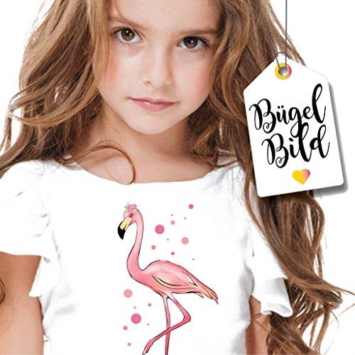Bügelbild Flamingo mit Punkten von Wandtattoo-Loft / Applikation zum selbst Aufbügeln / Farbig / Space / Patches / T-Shirt Aufbügler Vogel