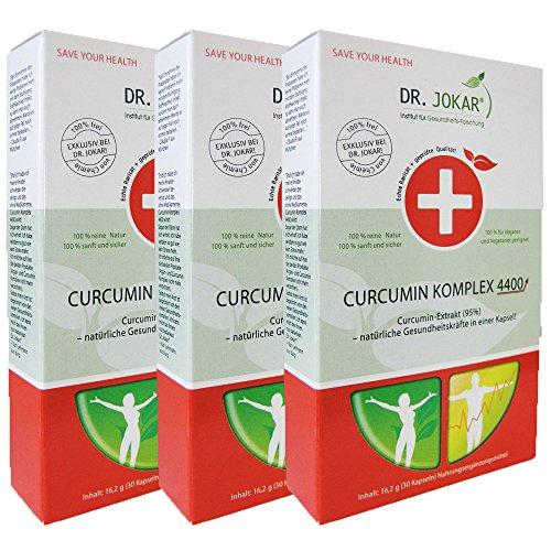 Curcumin Komplex 4400 von Dr. Jokar (3x30 Kapseln - Curcuma Longa Wurzel Extrakt) für die natürliche Regeneration der Zellen, Dank Piperin für 10-fach besseren Kurkuma Bioverfügbarkeit. Gesunde Zellen, gesunder Mensch. Kostenlose Lieferung