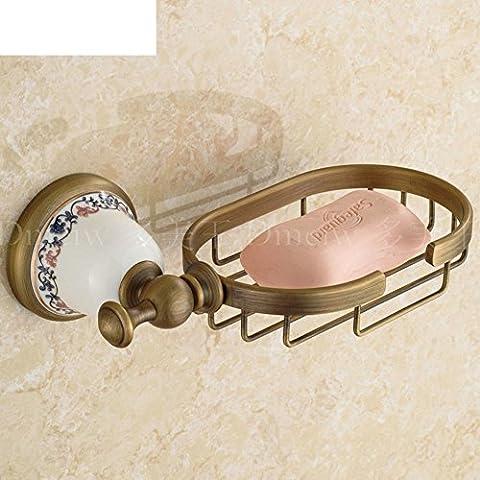 jabón de red de cobre completa retro Continental/bandeja de base de jabón azul y blanco porcelana antigua/Cuarto de baño de hardware