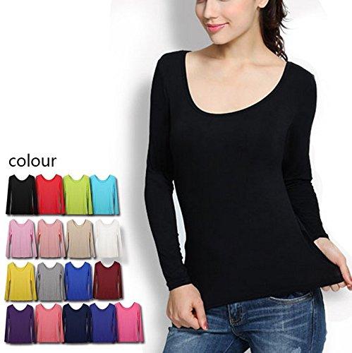 Smile YKK Femme Tops Madal Shirt Elastique Uni Rouge