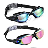 Aegend Swim Goggles, Mirrored Swimming Goggles No Leaking Anti Fog UV Protection Triathlon