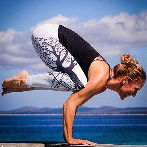 Junshan Femme leggings Hanche haute de sport de taille Yoga Legging Pantalon Sport Running Fitness Gym Blanc
