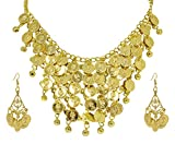 Halskette und Ohrringe mit Münzen - Gold - Schmuckset Zubehör Piratin Zigeunerin Bauchtänzerin Inderin Kostüm