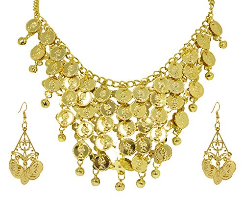Bauchtänzerin Münze (Halskette und Ohrringe mit Münzen - Gold - Schmuckset Zubehör Piratin Zigeunerin Bauchtänzerin Inderin Kostüm)