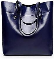 Fashion Blue Leather Shoulder Bag For Women Trendy Elegant Tote Bag European Style Ladies HandBag