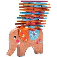Natureich Elefant Montessori Stapel Spielzeug aus Holz zum Geschicklichkeit Lernen mit Stäbchen Bunt/Natur ab 3 Jahre für die frühe Motorik Entwicklung inkl. Stoffbeutel