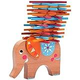 L'éléphant Natureich, jouet Montessori à empiler en bois, pour apprendre la dextérité avec de petites barres multicolores nature à partir de 3 ans pour la motricité de votre enfant (orange)