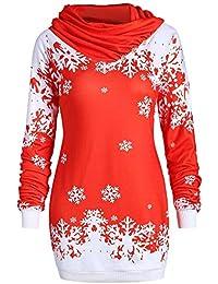 VJGOAL Mujeres Otoño E Invierno Moda Casual Feliz Navidad Copo de Nieve Impreso Tops Bufanda Cuello Largo Camiseta Superior Sudadera Blusa