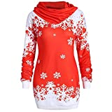Snowflake Printed Tops Cowl Neck Sweatshirt Blouse Christmas Party Cuello De La Bufanda Dress Merry Christmas Bufanda Cuello Manga Larga Estampado Bordado SuéTer De Navidad Naturazy