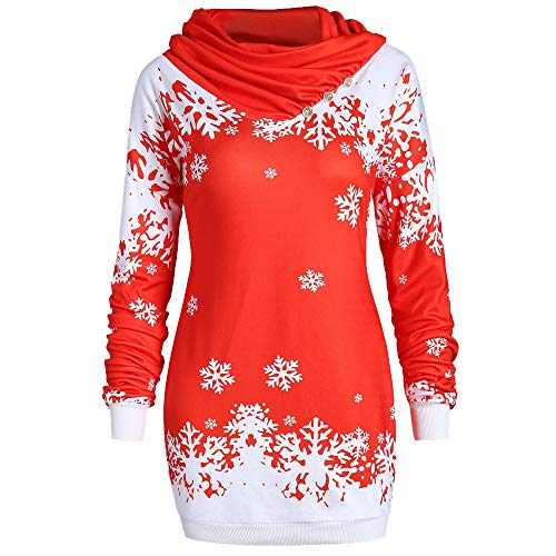 881820a7639 fashion gucci printed hoodies. Women Xmas Christmas Snowflake Printed Cowl  Neck Sweatshirt S-2XL Sweatshirt