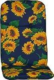 Gartenstuhlauflage Gartenstuhlkissen Sitzkissen Polster für Hochlehner Sonnenblumen blau