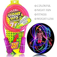 Kids Led Light Up Jump Rope Chinese Skipping Rope Toy Glow in Dark Intermitente Cambio de color 7 pies Cable rosa Regalo para niñas Niños Mamá