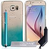 Yousave Accessories Regentropfen SchutzHülle mit Eingabestift und Kfz-Ladegerät für Samsung Galaxy S6–Blau/Transparent