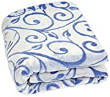 Betz Kuscheldecke Wohndecke Tagesdecke Größe 140 x 190 cm Super Soft seidig weichen Griff Ranke Farbe Blau