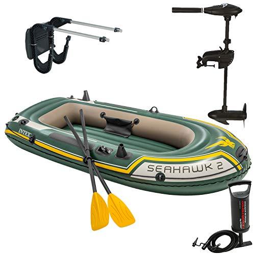 Intex Motorboot Schlauchboot mit Aussenbordmotor + Heckspiegel + Paddel, Pumpe Set für 2 Personen Komplettset