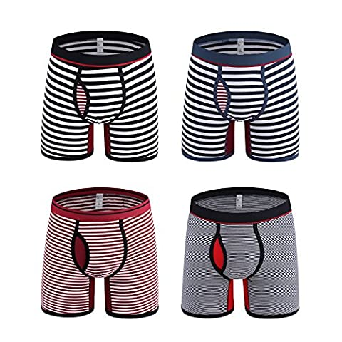 Boxer Briefs,Striped Boxer Trunks Boxer Shorts Cotton Underwear (M, Stripe)