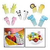 OFKPO 10pcs Niños Animales Mini Cartoon Fruta Tenedor Palillos para Accesorios de Almuerzo de la Caja de Bento Selecciones de Almuerzo