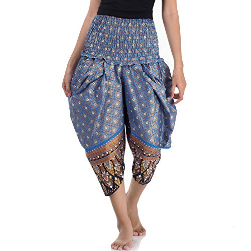 Alte Kostüm West Frauen - Princess of Asia Traditionelle Thai Capri Hose Damen Herren Haremshose Pumphose (Blau)
