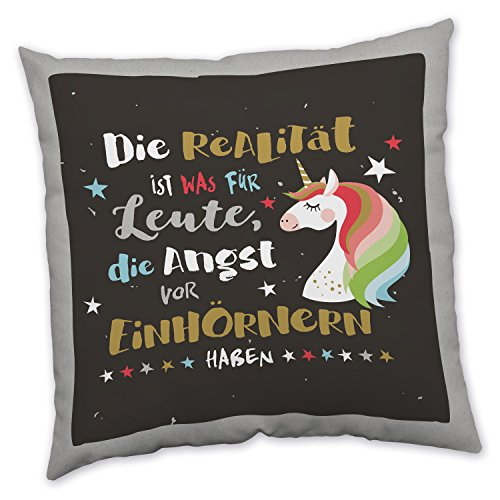 """Produktbild H:)PPYlife 45116 """"Die Realität ist was für Leute,  die Angst vor Einhörnern haben."""" Kissen,  Baumwolle,  mehrfarbig,  40 x 40 x 3 cm"""