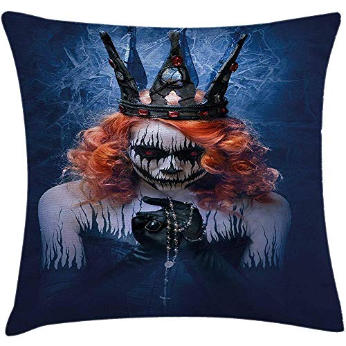 ushion Cover, Queen of Death Scary Body Art Halloween Evil Face Bizarre Make Up Zombie, Decorative Square Accent Pillow Case,Navy Blue Orange Black Size:16X16 Inches/40X40cm ()