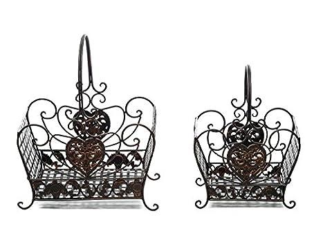 Paar Metallkorb Zeitungsständer Eisen Korb antik Stil braun Vintage iron basket