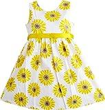 Mädchen Kleid Gelb Sonnenblume Schule Uniform Gr.128-134