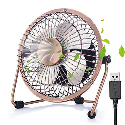 Mini USB Ventilator [Lebenslange Gewährleistung], iVoler 4 Zoll Aluminium Mini Tischventilator / Fan 360° Drehung Neigbar USB Ventilator Tragbarer Metall-Lüfter für PC MAC Notebook- Bronze -