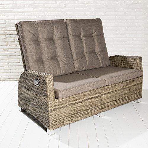 Luxus Zweisitzer Monte-Carlo braun Rocking Chair Sofa verstellbare Rückenlehne