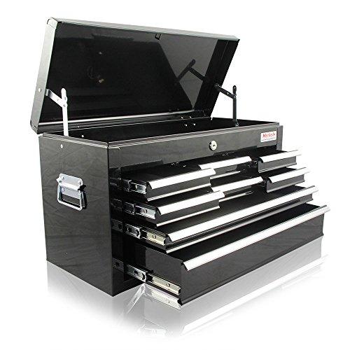 Werkzeugkasten mit 8 Schubladen und 1 Deckelfach - Schwarz