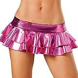 Malloom® Frauen Sexy Dessous Metallic Pyjamas Clubwear Leder Performance Minirock Lackleder Doppel Rock Minirock sexy Dessous (one size, heiß rosa)