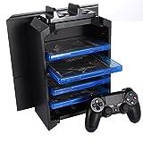 KONKY - PS4 / PS4 Slim / Pro Konsole Vertikaler Stand, Playstation 4 Dual Controller Ladestation Dock & PS4 Videospiele DVD Blu Ray Storage Tower