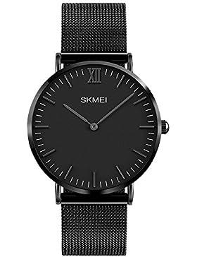 INWET Herren Uhren Quarz Armbanduhr Minimalistische Zeitloses Design Zifferblat Ultra Dünne Gehäuses,Edelstahl...