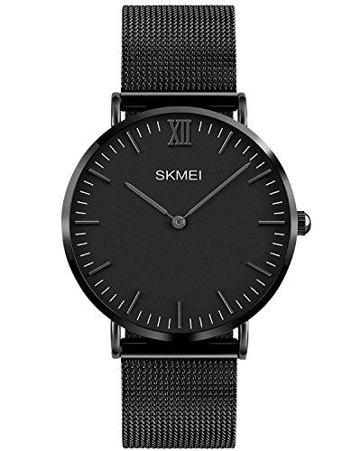 INWET Herren Uhren Quarz Armbanduhr Minimalistische Zeitloses Design Zifferblat Ultra Dünne Gehäuses,Edelstahl Milanese Mesh Armband - Schwarz