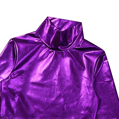 Freebily Femme T-shirt Haut Manches Longues Cuir Brillant Exposé Nombril Vêtement Danse Clubwear Sport Crop Tops Pull-over Veste Automne Hiver S-XL Violet