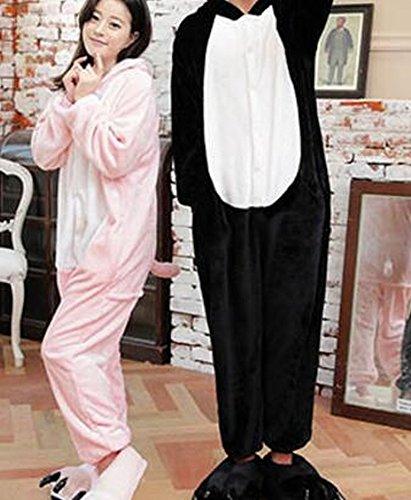 Kostüm Weibliches Schwein (HOMEE Unisex Adult Pyjamas - Plüsch One Piece Cosplay Tier Kostüm Winter Verdickung Freizeit,Schwarzes)