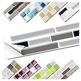Wandora 1 Set Fliesenaufkleber 27,9 x 4,3 cm schwarz grau Silber Ziegel Design 13 I 3D Mosaik Fliesenfolie Küche Bad Aufkleber W1536