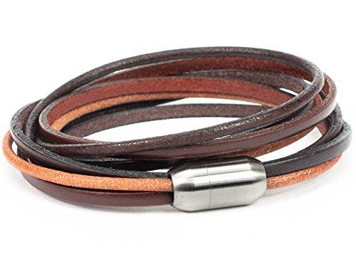 SIMARU Designer Lederarmband - Wickelarmband für Herren & Damen aus pflanzlich gegerbtem Leder mit Edelstahl Magnet Verschluss - Made in Germany (braun (Größe M))