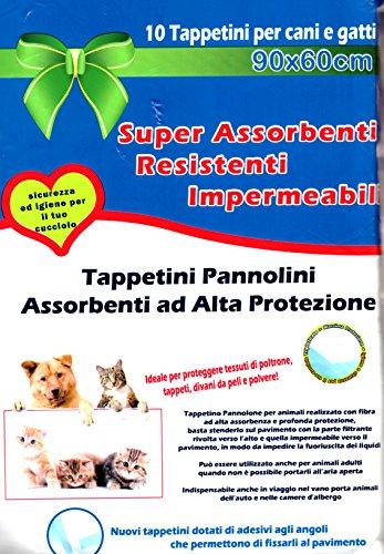takestop® 10 TAPPETINI ASSORBENTI PER CANI GATTI 90 X 60 CM CUCCIOLI PANNOLINI TRAVERSE ADESIVI