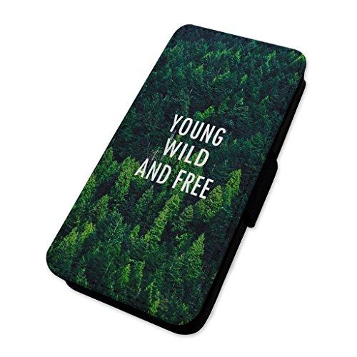 Young Wild & Free–Travel Nature–Custodia ad aletta in pelle copertura di carta Apple Iphone 6 Plus/6s Plus